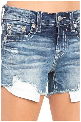 Miss Me Mid-Rise Shorts with Frayed Hem in Dark Blue (Dark Blue) Women's Shorts