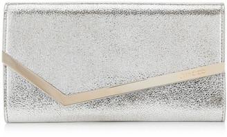 Jimmy Choo EMMIE Champagne Glitter Leather Clutch Bag