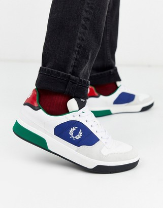 Fred Perry B330 suede trim sneakers in white