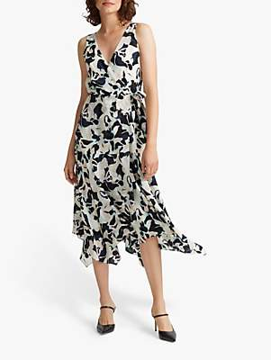 Club Monaco Silk Wrap Tank Dress, Blue/Multi