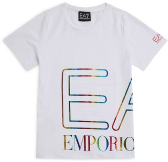 Emporio Armani Kids Metallic Rainbow Logo T-Shirt