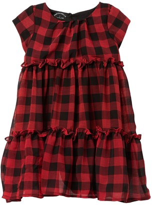 Pastourelle By Pippa And Julie Cap Sleeve Plaid Print Prairie Dress (Toddler & Little Girls)