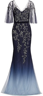 Marchesa Notte Cape-Sleeve Embroidered Ombre Tulle Gown