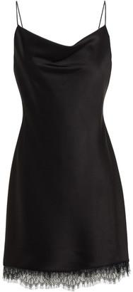 Alice + Olivia Lace-trimmed Draped Satin-crepe Mini Dress