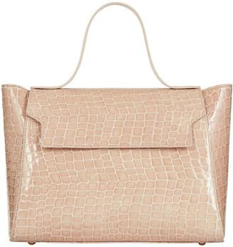 Cara The Top Handle Tote Leather Bag Blush Mock Croc