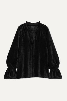 Nili Lotan Royan Tie-detailed Devore-velvet Blouse - Black
