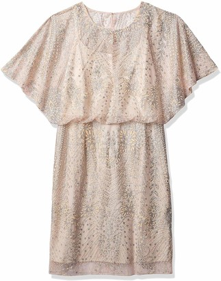 Brianna Women's Plus Size Blouson Kaftan Sleeve All Over Beaded Dress