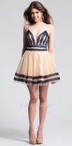 Dave and Johnny Lace Stripped Homecoming Dress