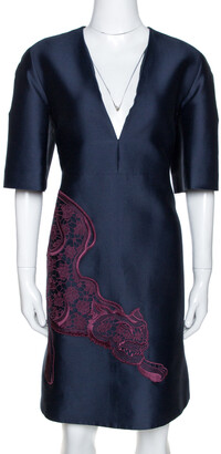Stella McCartney Navy Blue Cotton Silk Tiger Applique Structured Dress M