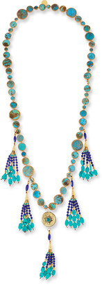 Devon Leigh Long Turquoise & Lapis Tassel Necklace