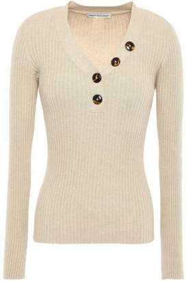 Autumn Cashmere Cotton By Button-detailed Ribbed Cotton Top