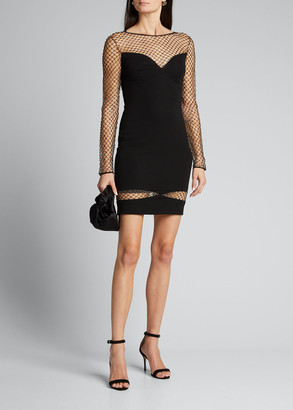 Cdgny Studded Mesh Illusion Long-Sleeve Dress