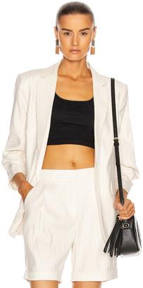Frame Pleated Boyfriend Blazer in Blanc Multi | FWRD