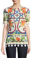 Dolce & Gabbana Short-Sleeve Maiolica-Print Top with Crochet Trim