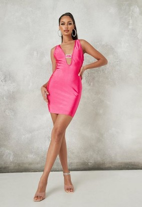Missguided Pink Diamante Buckle Bandage Mini Dress