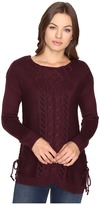 Brigitte Bailey Garnet Pullover w/ Mixed Cable & Lace
