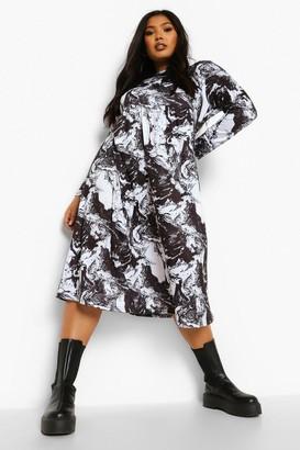boohoo Plus Marble Print Long Sleeve Midi Dress