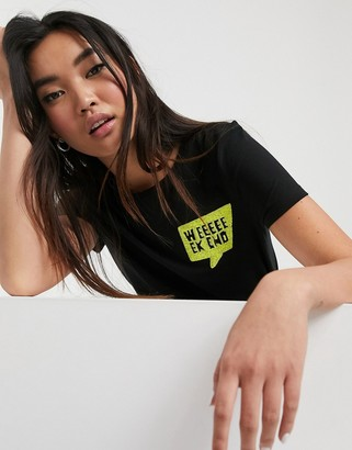 Only Kita short sleeve neon graphic t-shirt