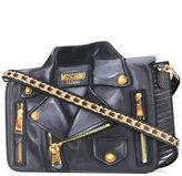 Moschino biker illusion print shoulder bag - women - Silk/Leather - One Size