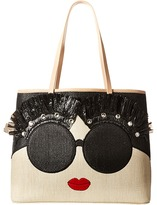 Alice + Olivia Stace Face Embroidered Straw Tote Handbags