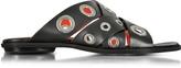 Proenza Schouler Black Leather Flat Slide w/Grommet