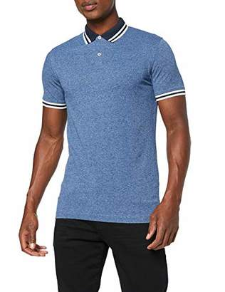Selected Men's Slhlau Mix Ss Polo W Shirt, (Medium Blue Denim Detail: Dark Sapphire/Egret), Large