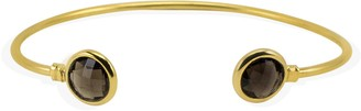 Brio Vintouch Italy Smoky Quartz Gold Cuff Bracelet