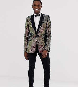 Asos Edition EDITION Tall skinny blazer in black velvet with iridescent sequins