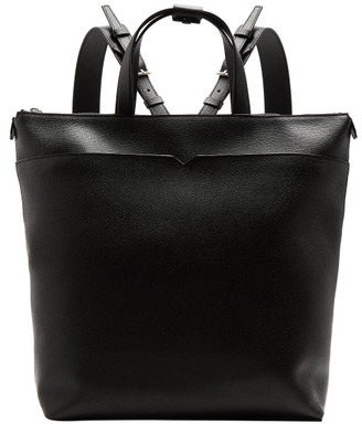 Valextra Grained-leather Backpack - Black