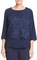Marina Rinaldi Blue Lace Overlay Blouse