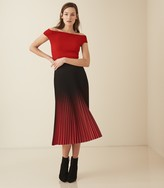 Reiss Zena - Knitted Bardot Top in Red
