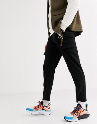ASOS DESIGN smart skinny jogger in black with cargo pockets