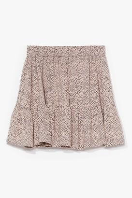 Nasty Gal Womens Ruffle Ride Spotty Mini Skirt - Beige - 10