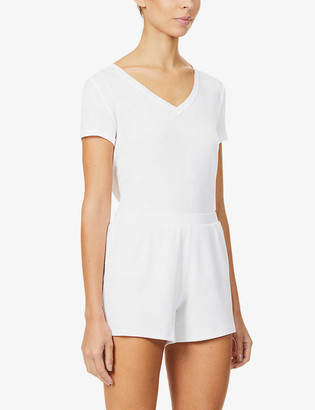 Skin Ribbed stretch-cotton pyjama shorts