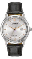 Citizen Eco-Drive Mens Black Leather Strap Watch AW1236-03A