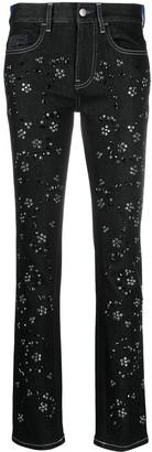 Koché Rhinestone-Embellished Mid-Rise Jeans