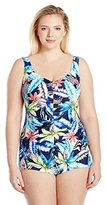 Maxine Of Hollywood Women's Jungle Tropic Shirred Girl Leg One Piece Swimsuit