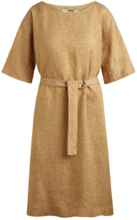 Zenggi Sand Linen Delave Loose Dress - M