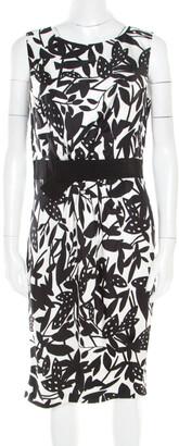 Paule Ka Monochrome Printed Silk Bow Detail Sleeveless Dress M