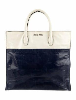 Miu Miu Colorblock Leather Tote Navy