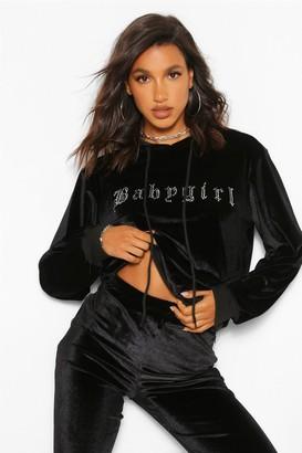 boohoo Diamante 'Baabygirl' Slogan Print Hoody