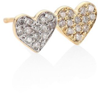 Sydney Evan Small Double Heart 14K Yellow Gold & Diamond Pave Heart Single Earring Stud