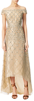 Adrianna Papell Off Shoulder Beaded Organza Gown, Doe