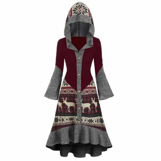 YEBIRAL Womens Christmas Santa Rockabilly Dress Vintage Party Dress Plus Size Elk Hooded High Low Flounce Hem Knitted Dress Wine