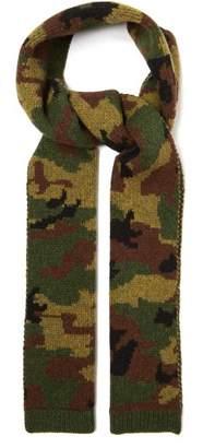 Miu Miu Camouflage Jacquard Wool Scarf - Womens - Khaki