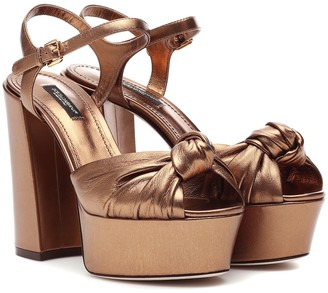 Dolce & Gabbana Metallic leather plateau pumps