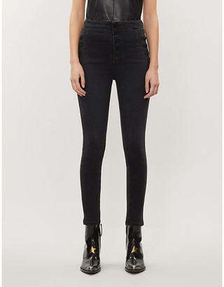 J Brand Ladies Black Cotton Natasha Super High-Rise Skinny Jeans, Size: 28