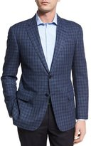 Armani Collezioni Houndstooth Check Two-Button Sport Coat, Black/Blue