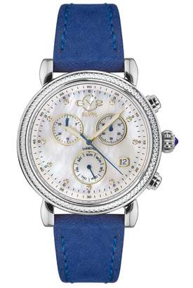 Gv2 GV2 by Gevril Women's Marsala Chrono Stainless Steel Swiss Quartz Watch with Leather Calfskin Strap Blue 18 (Model: 9843.S4)