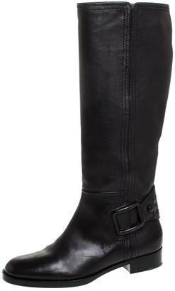 Bottega Veneta Black Leather Intrecciato Buckle Detail Knee Long Boots Size 39
